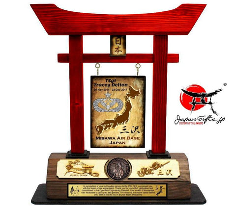 "(LARGE) Torii Gate, w/Burned Top Plate & Coin ""35th CES & Japan"" #5948"