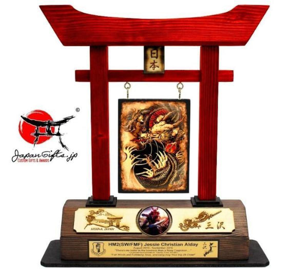 "Large Torii Gate, w/ ""Misawa"" Burned Top Plate & Coin Custom #8"
