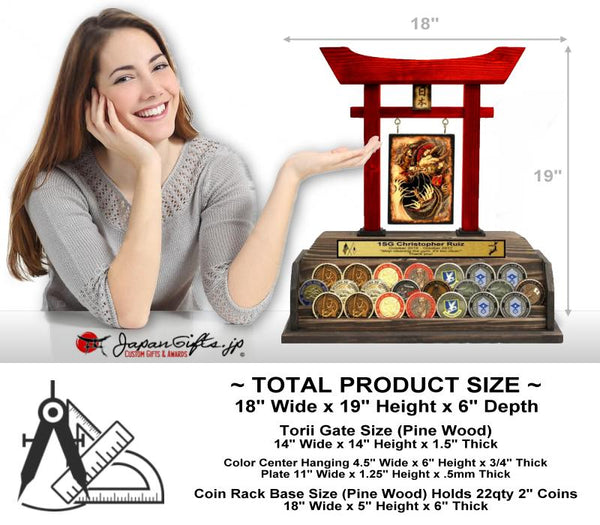 "(LARGE) Torii Gate Red w/Coin Rack ""Red Dragon"" - Fits 22qty Coins 2"" - #7031"
