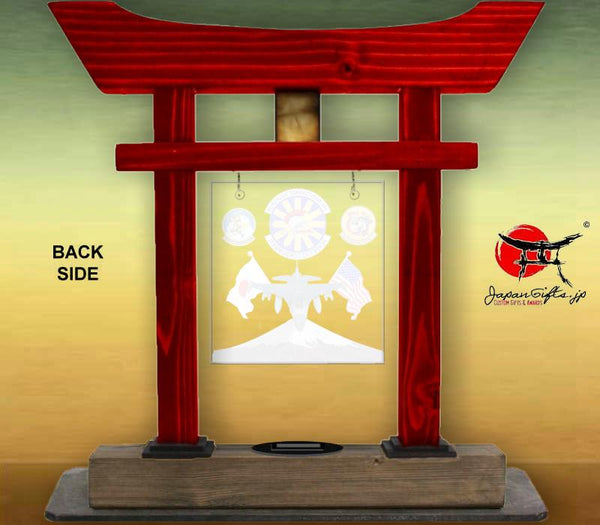 "(LARGE) 14"" Torii Gate ""AGE Flight - Jet & fuji"" w/Color Plate/Acrylic Center/Coin Holder #5976"