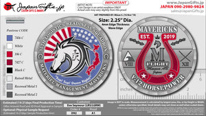 "2.25"" Dia ""LRS - MAVERICKS Flight"" Misawa Coins 100qty ""CUSTOMIZED"""