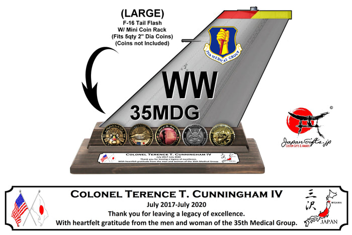 "(LARGE) 12"" Tall F-16 ""Mini Coin Holder"" Tail Flash ""CUSTOMIZED"" #TF-F16-L05-MCR"