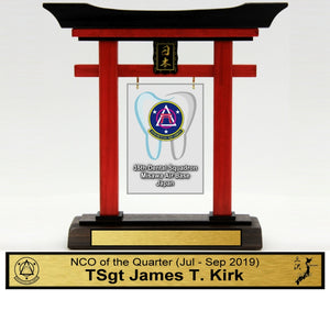 "(Mini) 9"" Tall Torii Gate ""35th Dental Squadron Awards"" Quarterly"