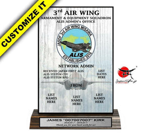 "5""W X 8""H Wood Desk Plaque ""F-35 / JASDF"" #W-D58-02"