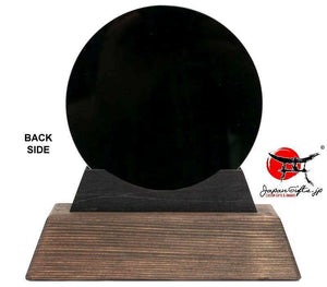 "(SMALL) 5"" Dia. Circle Black Crystal Desk Plaque"