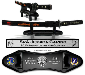 "(SMALL) 23"" Sword and Horizontal Base ""CUSTOMIZED"" 35th SFS - Quarterly Awards -"