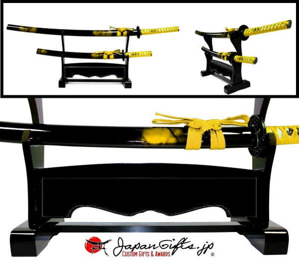 "Double Desk Sword Set ""Gold"" Black Background #2"