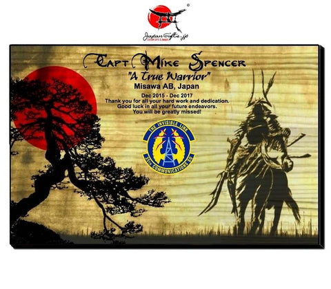 "Horizontal 11"" x 17"" Wood Wall Plaque ""Samurai / Tree"" #84"