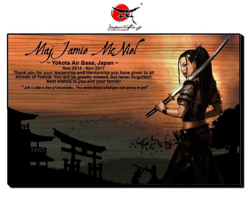 "Horizontal 11"" x 17"" Wood Wall Plaque ""Samurai Girl"" #83"