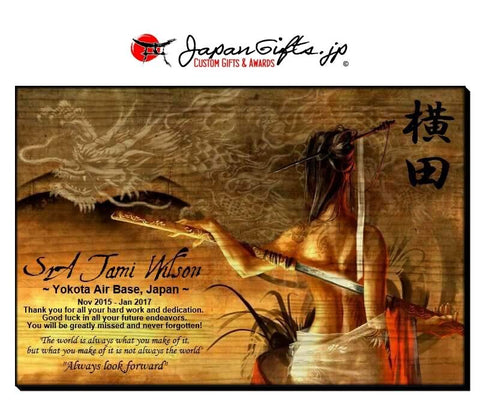 "(LARGE) 23"" x 15"" Wall Wood Plaque ""Geisha/Dragon"" #5871"