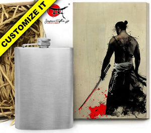 (LARGE) 8oz Metal Hip Flask w/Box HF-L009-WB