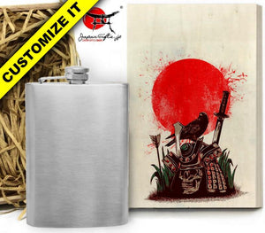 (LARGE) 8oz Metal Hip Flask w/Box HF-L006-WB