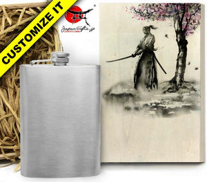 (LARGE) 8oz Metal Hip Flask w/Box HF-L012-WB