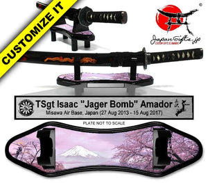 (SMALL) Desk Sword and Base w/Artwork & Plate #DS-SH102-AP