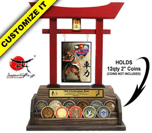 "(LARGE) Torii Gate w/Coin Rack Holds 12qty 2"" Coins #TG-CR12-01"