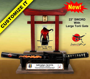 "23"" Desk Sword & Large Torii Gate w/Color Plate/Acrylic Center #SST-CP001-AC"
