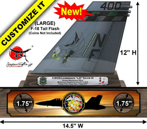"(LARGE) 12"" Tall F-18 ""Color Imprinted Acrylic"" Tail Flash Desk Plaque #TF-F18-L02"