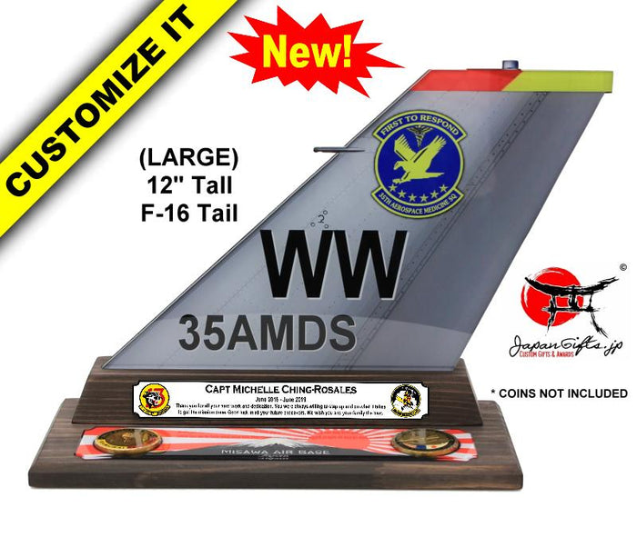 "(LARGE) 12"" Tall F-16 ""Color Imprinted Acrylic"" Tail Flash Desk Plaque #TF-F16-L04"