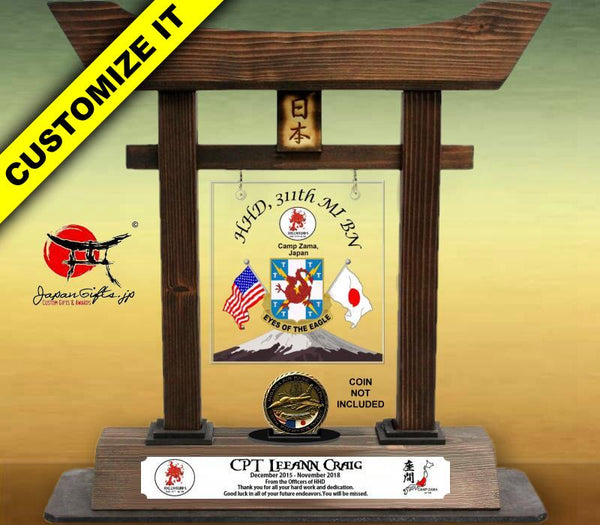 "(LARGE) 14"" Torii Gate w/Coin Holder/Acrylic Center #T-L009-AC"