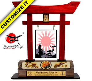 (LARGE) Torii Gate, w/Burned Top Plate & Coin #T-L008-BC