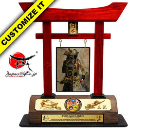 (LARGE) Torii Gate, w/Burned Top Plate & Coin #T-L013-BC