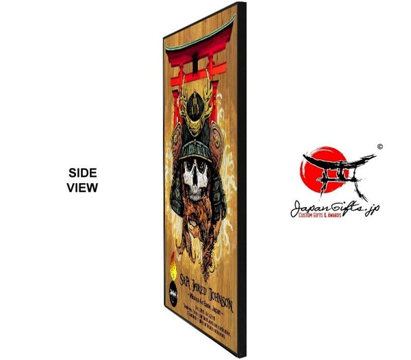 "(LARGE) Vertical 15"" x 23"" Wood Wall Plaque ""Torii/Skull Samurai"" #6334"