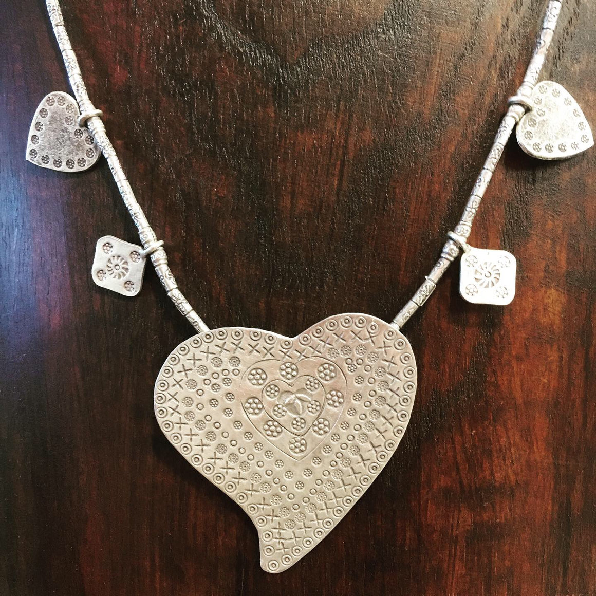 Heart tribal silver necklace