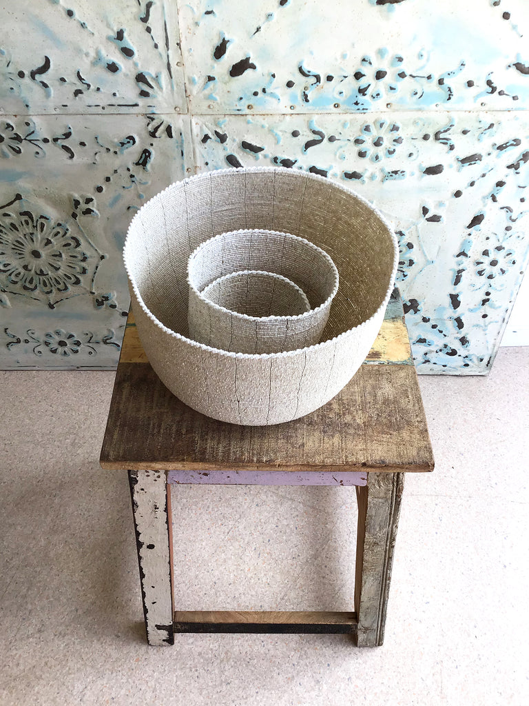 Extra large beaded basket