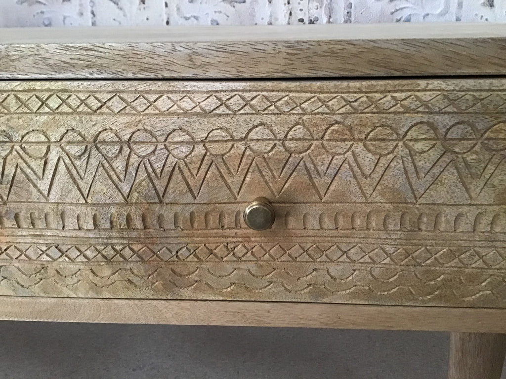Scandi carved coffee table