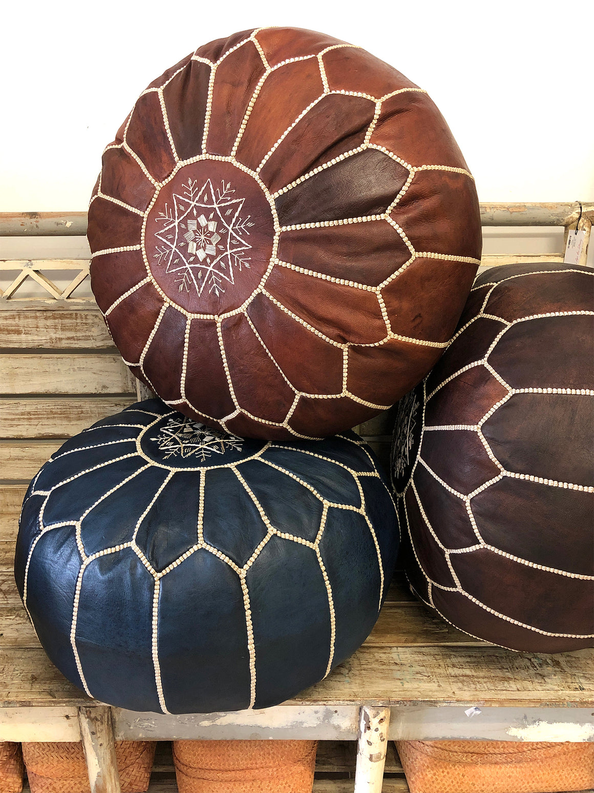 Moroccan leather ottoman