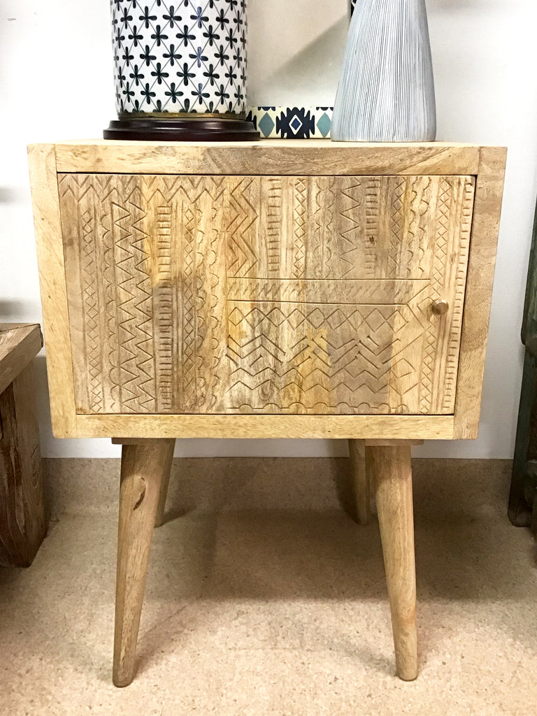 Carved door bedside table