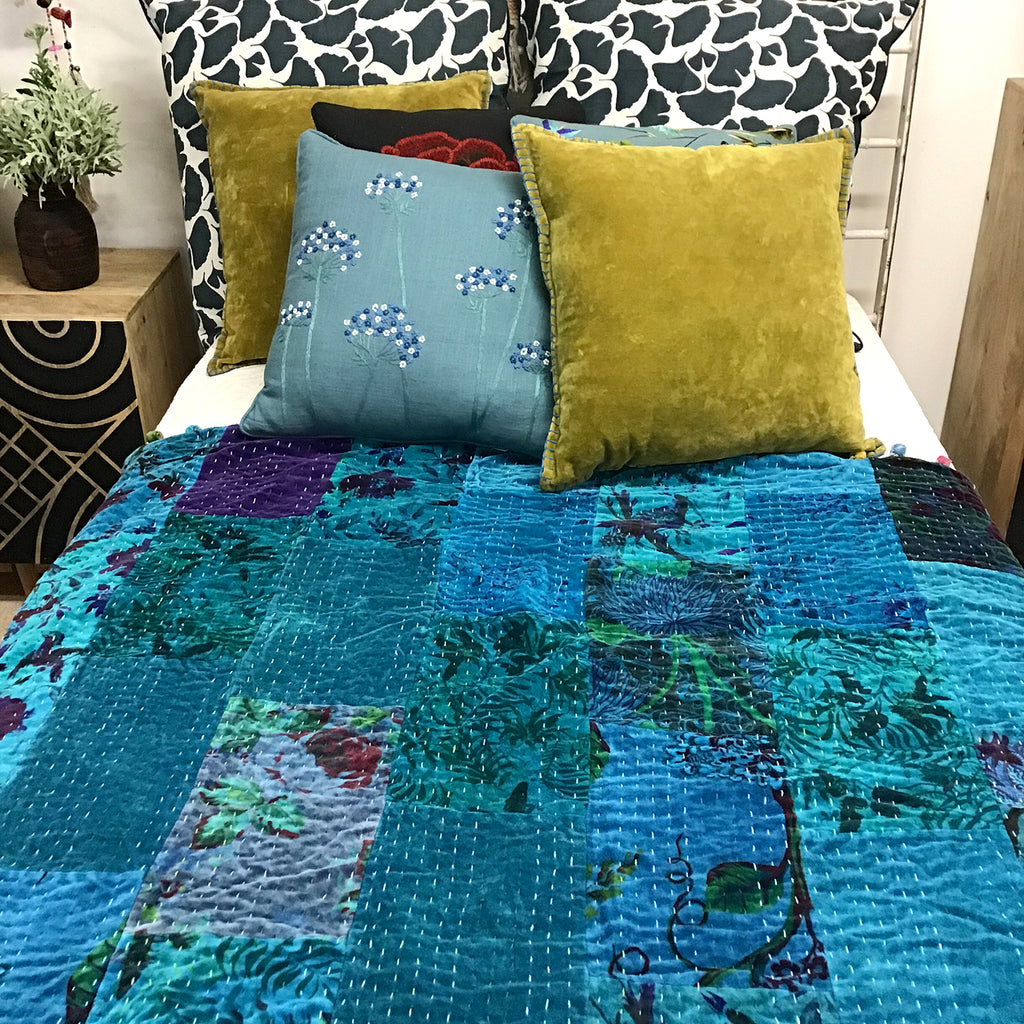 Velvet blanket stitch cushion
