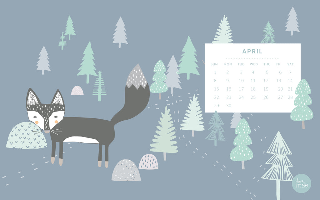 Love Mae Free Desktop Calendar for April 2018