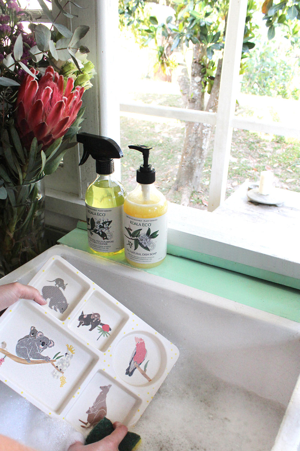 Testing the Koala Eco All Natural Dish Soap on our bamboo dinnerware products