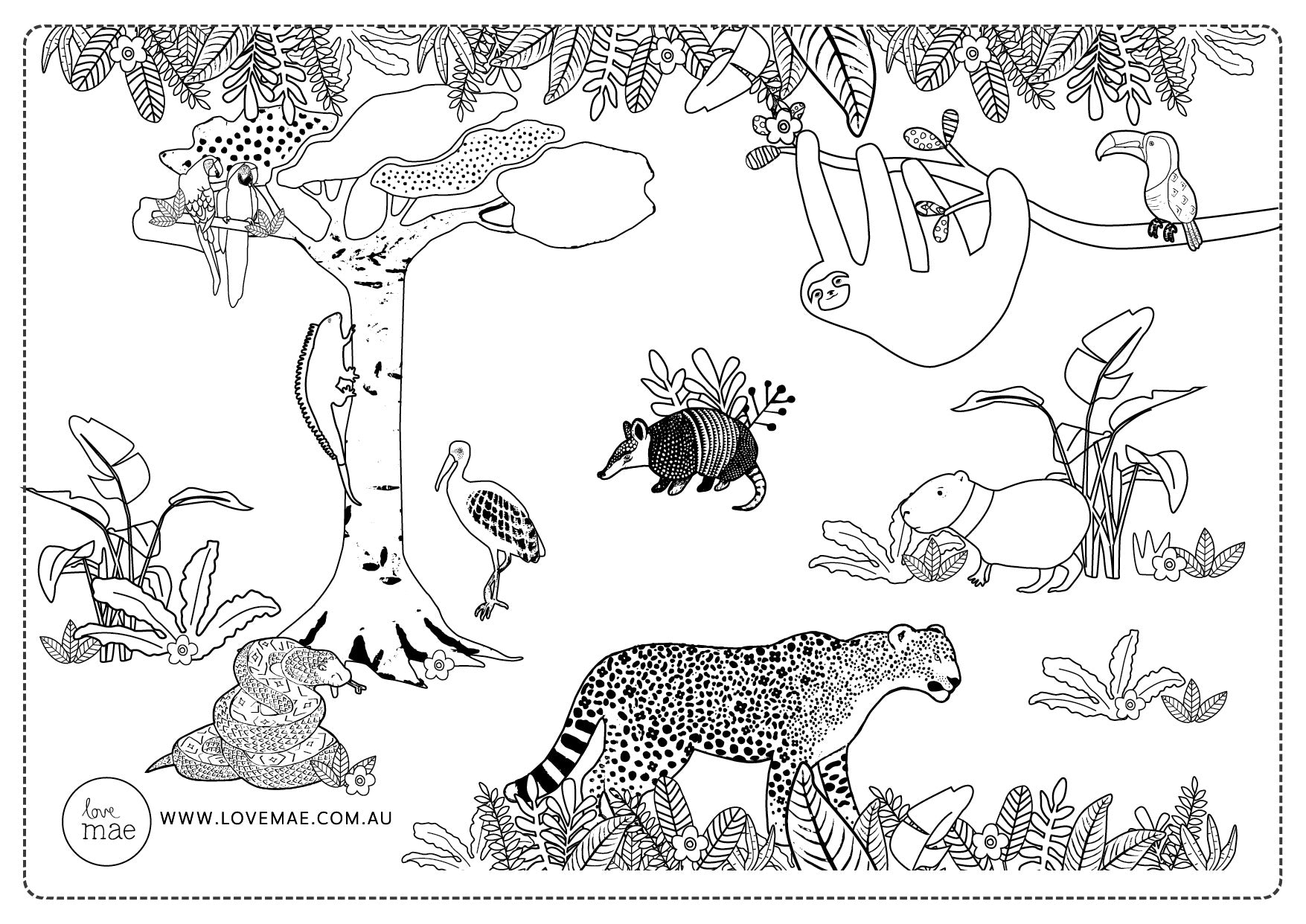 Amazon_Jungle_Animals_Forest_Nature_Illustration_Download_For_Kids_Colouring_In