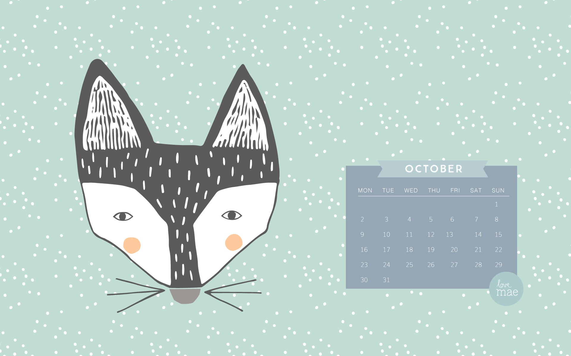 Love Mae Free Downloadable Desktop Calendar for October
