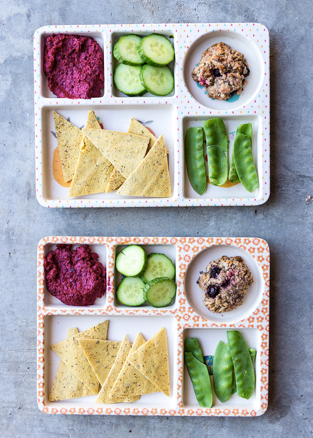 A vegan lunch for kids of our bamboo five piece kids dinner set