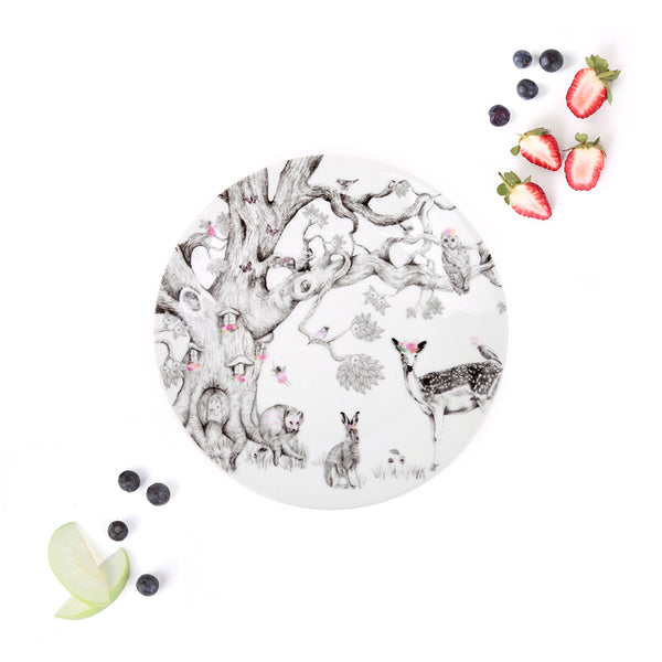 Love_Mae_Porcelain_Kids_Plate_Dinnerware_Enchanted_Forest_Illustrated