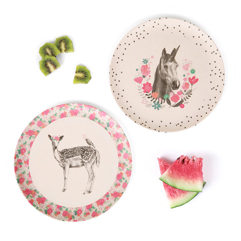 4pk Plates - Unicorn and Deer