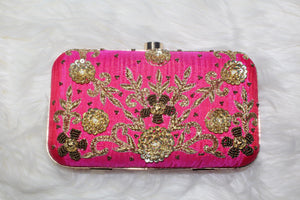 Pink and Gold Box Clutch