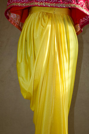 Yellow Lycra dhoti skirt