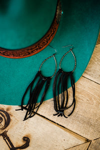 Renegade Black Fringe Leather Earrings