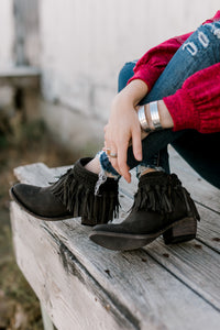 Liberty Black Black Velvet Bound Boots