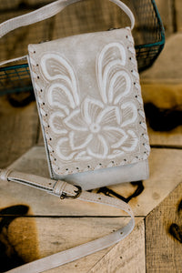 Maxine Floral Tooled Leather Crossbody