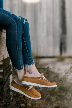 Saunter Tan Suede Slip-On Shoes [Lined]