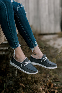 Mosey Grey Suede Slip-On Shoes [Lined]