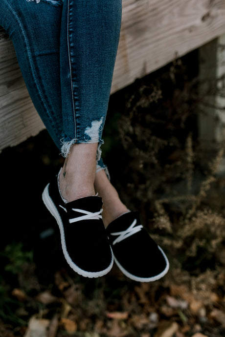 Stroll Black Suede Slip-On Shoes [Lined]