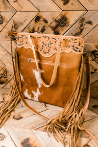 Nakoma Genuine-Hair-On-Hide Fringed Tote Bag