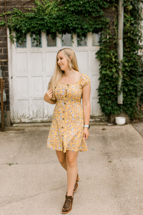 Aniston Yellow Floral Dress