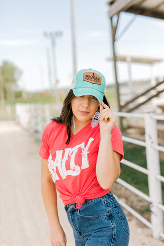 Alonzo Distressed Turquoise Criss Cross High Pony Hat